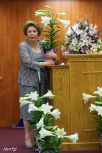 Apóstol Lidia Rodríguez lucía radiante y feliz.